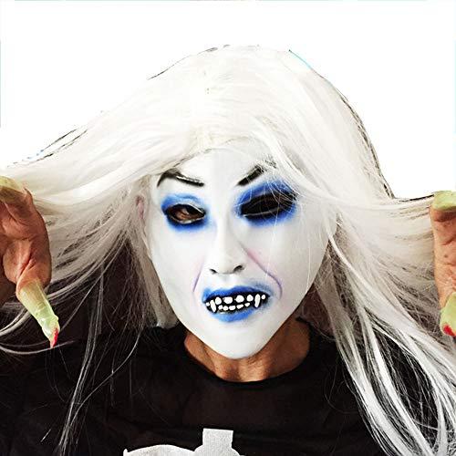 Halloween Maske, White Hair Witch, 21Cm × 18Cm, Maske + Perücke