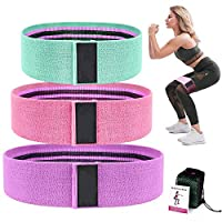 Santo Fabric Resistance Booty Loop Band, Non-Slip Elastic Workout Exercise Bands, Cotton and Rubber Fabric, Stretch Hip Bands for Legs, Butt, and Yoga, 3 Pack Set