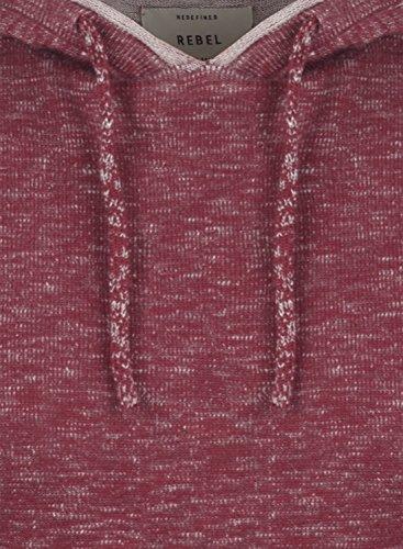 REDEFINED REBEL Murray Herren Strickpullover Hoodie Grobstrick Pulli mit Kapuze aus hochwertiger 100% Baumwolle Bordeaux