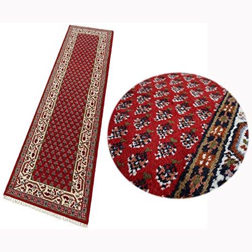 Teppich Orient Läufer Mir Rot Cream 80x290 cm 100% Wolle Handgeknüpft -
