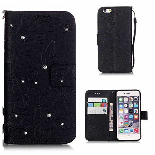 iPhone 6s Plus Case, KKEIKO® iPhone 6 Plus / iPhone 6s Plus Wallet Case [with Free Screen Protector], Premium Flip Leather Case and Cover with Bling Rhinestone, Shockproof Bumper Cover Case for Apple iPhone 6 Plus / iPhone 6s Plus (Black)