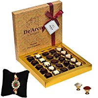 De'Arco Chocolatier Handmade Luxurious Rakhi Gift Chocolate Box, Dark Chocolate Gift Hamper for Brother, 25pcs + Free 1 Rakhi + Free Roli Chawal
