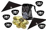Lila Lotte Piraten Partyset | für 10 Kinder | Mitgebselset | Augenklappen, Bandana | Piratenbeutel mit Münzen
