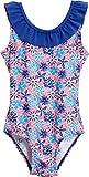 Playshoes Mädchen Einteiler Badeanzug Veilchen mit UV-Schutz, Mehrfarbig (LACHS 41), 110 (Herstellergröße: 110/116)