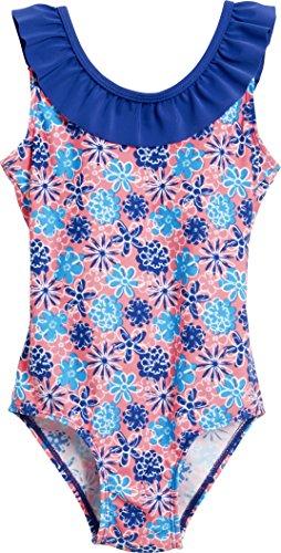 Playshoes Mädchen Einteiler Badeanzug Veilchen mit UV-Schutz Mehrfarbig (LACHS 41) 98 (Herstellergröße: 98/104)