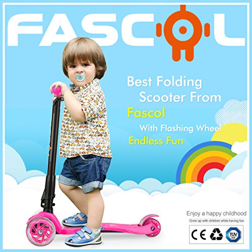 Fascol Scooter Plegable de 3 Ruedas para Niños de 3 - 12 Años, con Protector de Rodilla y el Codo, Rueda Brillante, Patinete para Niños, Rosa
