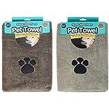 Serviette microfibre super absorbante - Pour chiens et animaux domestiques - Lot de 2