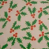 0,5m Stoff Ilex wollweiß Weihnachten Weihnachtstsoff