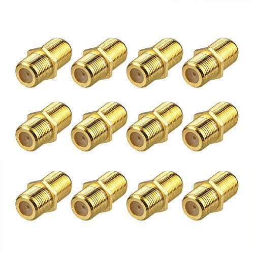 VCE 12 Stück F-Verbinder Sat Kupplung Verbinder Vergoldet Sat Kabel Adapter F Kupplung für SAT Antennenkabel, Koaxialkabel