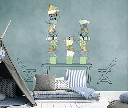 YUANLINGWEI Benutzerdefinierte Wandbild Tapete Kreative Minimalistischen Kaffeetasse Muster...