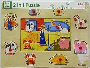Allkindathings AMZ_7503A - Puzle de Madera para niños con diseño de Granja y Pinzas para clasificar la Forma