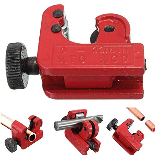 TAKEMORE7Mini Tube Cutter, Zink Legierung Tube Cutter Werkzeug für 3mm-22mm Kupfer Messing Aluminium Kunststoff Rohre, Rot, Free Size -