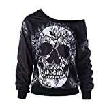 WWricotta Women's Long Sleeve Skew Neck Skull Print Halloween Sweatshirt Blouse Top Shirt