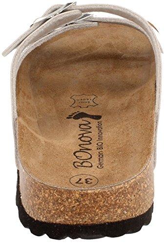 BOnova® Menorca Pantoletten in 7 Farben für Damen, Hausschuhe mit Korkfußbett - HANDMADE IN SPAIN Silber