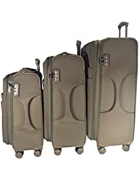 Texas USA - Exclusive Range Of Imported Soft Luggage Trolley - Set Of 3 - 20 Inch Cabin - 24 And 28 Inch Check...