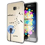 NALIA Handyhülle für Samsung Galaxy A3 2016, Slim Silikon Motiv Case Hülle Cover Crystal Schutzhülle Dünn Durchsichtig Etui Handy-Tasche Backcover Transparent Phone Bumper, Designs:Dandelion Blau