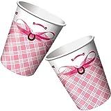 8-teiliges Becher-Set * WEISSES PFERD * für Kindergeburtstage oder Motto-Partys // Geburtstag Party Pappbecher Partybecher Cups weiß und rosa Schimmel