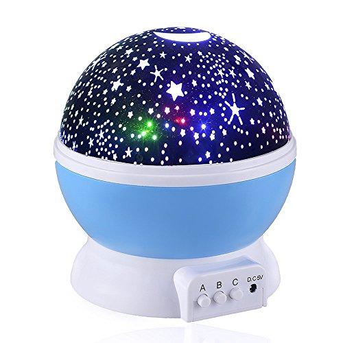 Waylee bambino della luce di notte della luna del proiettore della stella rotazione di 360 (Luna 2 Luce)
