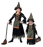 Karneval-Klamotten Hexen-kostüm Mädchen schwarz grün orange Kinder Hexe Halloween-Kostüm Hexen-Kleid Hexenhut Größe 140