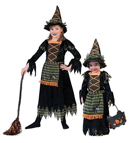 Karneval-Klamotten Hexen-kostüm Mädchen schwarz grün orange Kinder Hexe Halloween-Kostüm Hexen-Kleid Hexenhut Größe 104