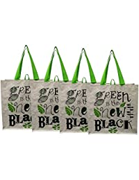 """Earthwise Large Earth Day Reusable Grocery Shopping Tote Bag Featuring """"Green Is The New Black"""" Print ( Pack Of 4)"""