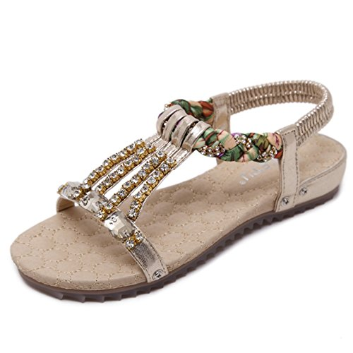 Perline con strass estivo da donna, sandali da spiaggia, ciabatte da spiaggia, sandali elastici a t in tinta unita (colore : oro, dimensione : 37 1/3 eu)