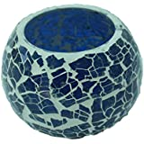 Blue Mosaic Glass Tealight Candle Holder Handmade Handicraft For Home Decor Gift Item