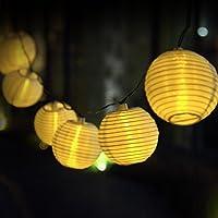 20 LED Lanterna di Carta Impermeabile Stringa di Luci ad Energia Solare Solar Luci di Natale Leggiadramente illumina Ambiance Luci per Giardini, Case, Matrimonio, festa di Natale-Bianco Caldo