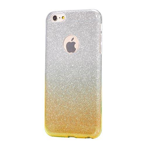 iPhone 6S Plus Hülle,iPhone 6 Plus Hülle,JAWSEU Bling Glitzer Shiny Mermaid Muster Crystal Klare Ultradünne Silikon Gel Schutzhülle Durchsichtig Kristall Transparent Bling TPU Silikon Bumper Schutz Ha Gradient Gold