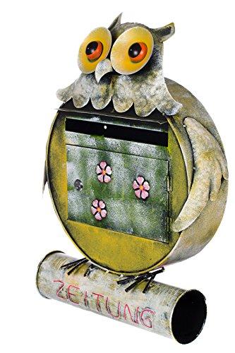 Antiker großer und sehr edler Briefkasten , Tierdesign Eule, NA10B343 Handbemalt. sehr schön gearbeitet Metallverzierung, Mit Zeitungsrohr, Einfach nur der Hingucker Wandbriefkasten, Briefkasten, Nostalgischer Metall Briefkasten 56 cm hoch . Mit Befestigungsmaterial für die Wand. mit 2 Schlüsseln , Rostfrei - 2
