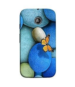 FUSON Designer Back Case Cover for Motorola Moto E :: Motorola Moto E XT1021 :: Motorola Moto E Dual SIM :: Motorola Moto E Dual SIM XT1022 :: Motorola Moto E Dual TV XT1025 (Butterfly Rocks Beautiful Colorful Blue Splendo Butterfly)
