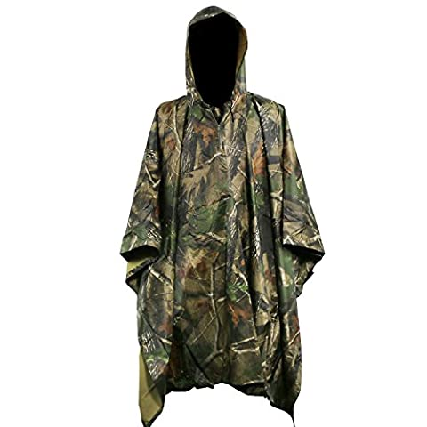 Rain Poncho 3 In 1 Multifunctional Waterproof Rainwear Ripstop Hooded Raincoat with Carry Bag (Maple