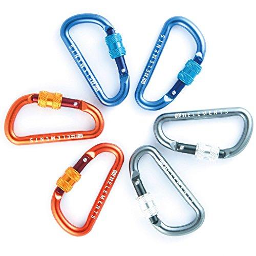 GO!elements 6X Mini Karabiner Schlüsselanhänger mit Schraubverschluss | Alu Karabinerhaken klein für Sport Trinkflasche Rucksack Camping Outdoor Angeln | Aluminium Schraubkarabiner Haken 6 Stück