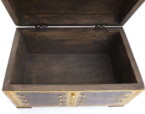 73MS Truhe Holztruhe Schatzkiste mit Schloss Truhe Holzbox Geburtstag Schatztruhe Geschenk Holzbox Verpackung Schatz Hochzeit -