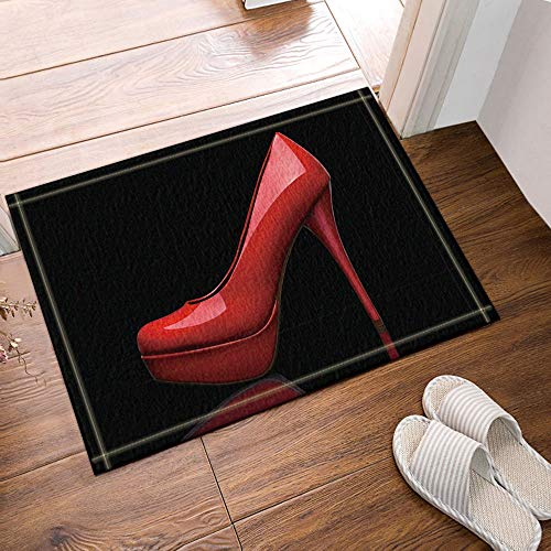 fdswdfg221 Kreative Sex Frau Dekor Rot High Heels in Schwarz Bad Teppiche Rutschfeste Fußmatte Bodeneingänge Outdoor Indoor Haustür Matte Kinder Badematte 60X40 cm Bad-Accessoires