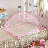 Moskitonetz Bett Baldachin Pop Up Faltbare Mückennetz für Kinderbetten (B, Rosa)