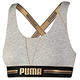 PUMA Women Gold Logo Cross Back BRA Tank Top SPORT-BH Bustier training, Farben:light grey melange / gold;Größe Bekleidung:L