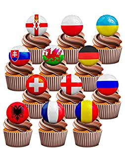 Euro 2016Fußball Party Pack–essbar Stand-up Cup Cake Topper (24Stück)