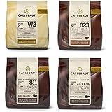 Callebaut 4 x 400g Bundle - Cobertura de Chocolate con Leche, Negro & Blanco Belga