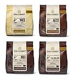 Callebaut 4 x 400g Bundle - Feinste Belgische Zartbitterschokolade, Dunkle, Milch & Weiße Schokolade Kuvertüre - Finest Belgian Chocolate (Callets) Packung mit 4 x 400g