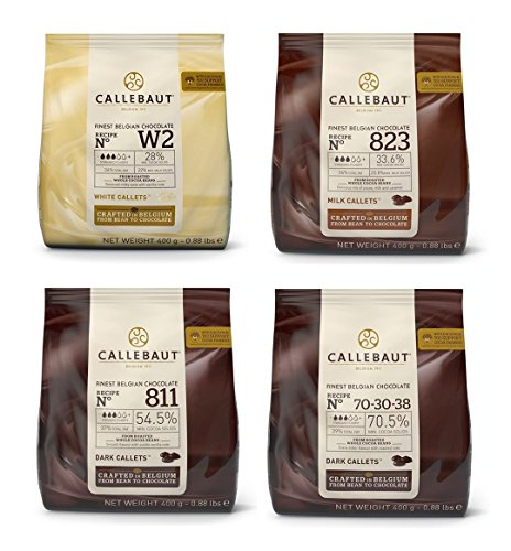 Callebaut 4 x 400g Bundle – Feinste Belgische Zartbitterschokolade, Dunkle, Milch & Weiße Schokolade Kuvertüre – Finest Belgian Chocolate (Callets) Packung mit 4 x 400g