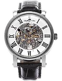 Lindberg & Sons SK14H017 - Reloj análogico para hombre de pulsera (esqueleto automático), correa de cuero negra