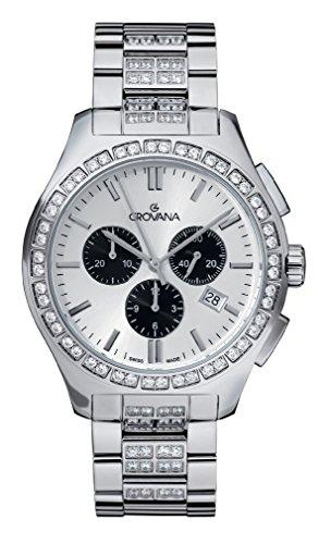 GROVANA 2096,9732 Swiss-Orologio Unisex al quarzo, quadrante bianco Display con cronografo e cinturino in acciaio INOX color argento