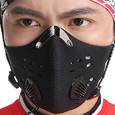 FaithYoo Outdoor Sports Windproof Dustproof Face Mask PM2.5 Mouth-muffle Cycling Bicycle Motorcycle Riding Carbon Protective Filter Thermal Mask (Black)