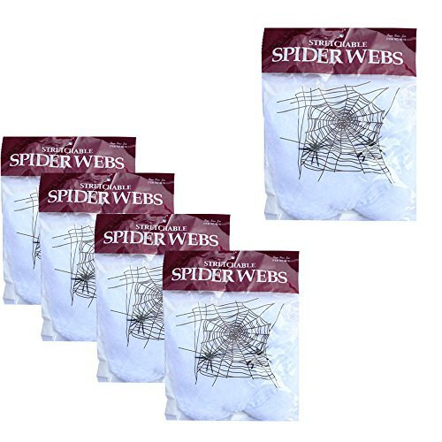 WasonD 5 Packungen Halloween Spinnweben Deko Super Stretch Spinnennetz mit Spinnen für Draussen, Garten, Weiß (Outdoor Spinnweben Für Halloween)