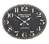 osters muschel-sammler-shop Maritime Holz-Wanduhr - Shabby Look- antik-Look - analoge Uhr - Nostalgie-Uhr- Antikoptik -schwarz oval 49x39cm Durchmesser