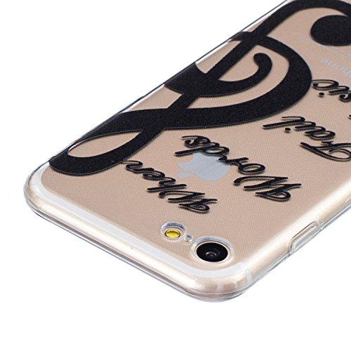 iPhone 7 Hülle,SainCat iPhone 7 Silikon Hülle Tasche Handyhülle Weiß Retro Muster [Elephant] Schutzhülle Transparent TPU Gel Case Bumper Weiche Crystal Kirstall Clear Silikonhülle Durchsichtig Handy G Schwarz-Note