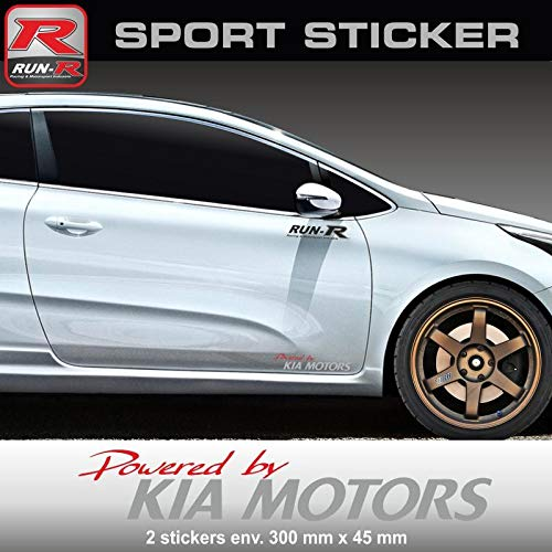 Preisvergleich Produktbild ADN-Auto 58556 Aufkleber PW22 RA Wandtattoo Powered by Kia für CEE 'D PRO CEE 'D Sportage Rio Venga NIRO Soul