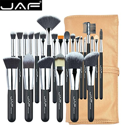 ESAILQ 24Pcs Makeup Brush Kit Wood Professional Cosmetic Set Foundation Brush Powder Brush Eyeshadow Brushes Noir (Noir)