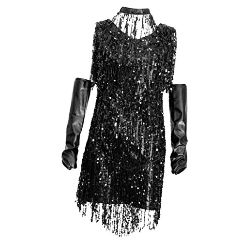 F Fityle 1920er Gatsby Kurz Pailletten Flappers Kleid Quasten Motto Party Kleider Cocotail Party Kostüm Verkleidung - Silber schwarz, - Schwarz Und Silber Pailletten Flapper Kostüm